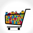 Shopping cart is full of colorful gift box vector — Stock Vector