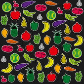 Fruit and vegetable pattern background vector — Stock Vector