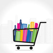 Shopping trolley full of office and residential building vector — Stock Vector
