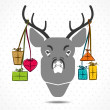 Stock Vector: Merry christmas concept deer with gift vector