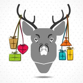 Merry christmas concept deer with gift vector — Stock Vector