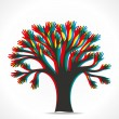 Colorful hand overlap hand tree vector — Stock Vector