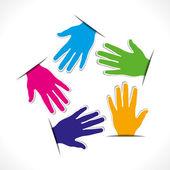 Colorful hand design pentagon shape vector — Stock Vector