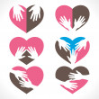 Different hand heart shape collection vector — Stock Vector