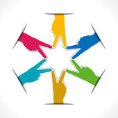 Colorful hand victory sign arrange in round shape vector — Stockvector