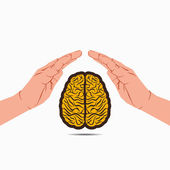 Secure your brain or brain under hand vector — Stock Vector