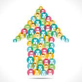 Colorful people icon design arrow shape — Stock Vector