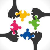 Colorful puzzle piece join or teamwork — Stock Vector