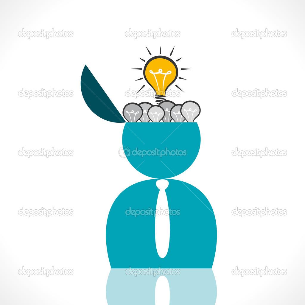 满脑子的灯泡,用新的思想理念的人图片