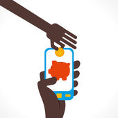 Saving money concept using internet technology through mobile — Stockvektor
