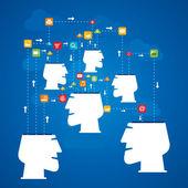 Social media connection people concept vector — Stock Vector
