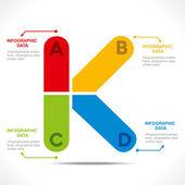 Creative alphabet 'K' — 图库矢量图片