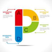 Creative alphabet 'P' — 图库矢量图片