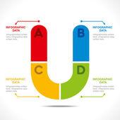 Creative alphabet 'U' — 图库矢量图片