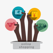 Online shopping icon concept vector — Stok Vektör