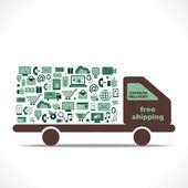 Diseño de e-commerce icono envío entrega gratis — Vector de stock