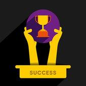 Winner hold the trophy — Stock Vector