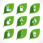 Green energy or eco icons — Stock Vector