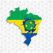 Brazil map with soccer — Stock Vector