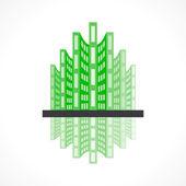 Green building icon — Stock Vector