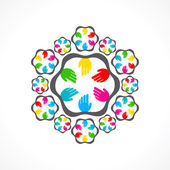 Creative colorful hand icon — Stock Vector
