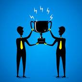 Two men holding big winning trophy — Stock Vector