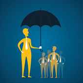 Men secure the customer under umbrella — Stock Vector