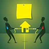 Men pull home for own side — Stock Vector