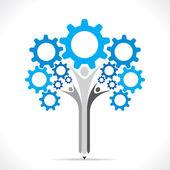 Creative gear pencil tree design concept — Stock Vector