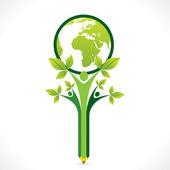 創造的な緑の移動や地球を救う — ストックベクタ