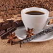 Cup of coffee with spices — Stock Photo