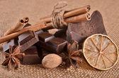 Choklad och kryddor — Stockfoto