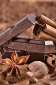 Chocolate and spices — Stock Photo