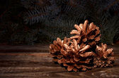 Christmas pine cones — Stock Photo