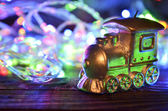 Christmas candle locomotive — Stock Photo