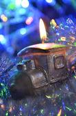 Vánoční lokomotiva — Stock fotografie