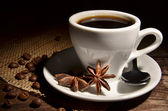 Cup with coffee and spices — Foto Stock