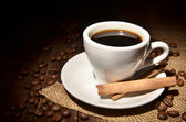Cup with coffee and spices — Stock Photo