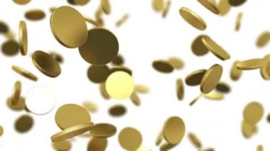 Gold coins falling on white. Beautiful Looped animation with DOF. HD 1080. — Stock Video