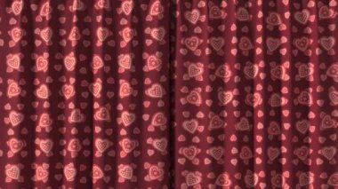 Red Curtain with hearts opening in high definition with alpha mask. Useful for presentations. — Stock Video