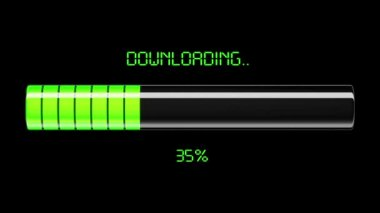 Downloading and uploading process animation with percentage. Green color. HD 1080. — Stock Video