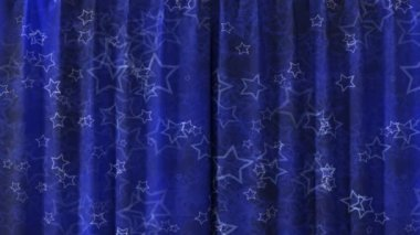 Blue Curtain with stars opening in HD with alpha mask. Useful for presentations. — Stock Video