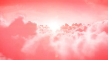 Heaven. Beautiful Flight over the rose clouds with the sun. Seamless 3d animation. HD 1080. — Stock Video