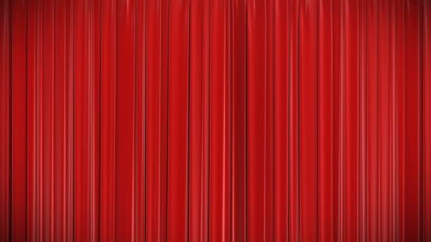 Animación 3d altamente detallado de cortina roja de apertura y cierre con pantalla verde, hd 1080. — Vídeo de stock