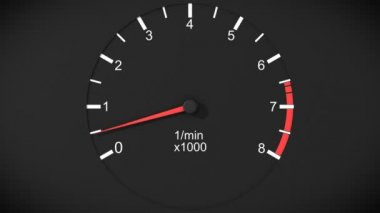 Car tachometer and moving pointer on it. HD. — Stock Video