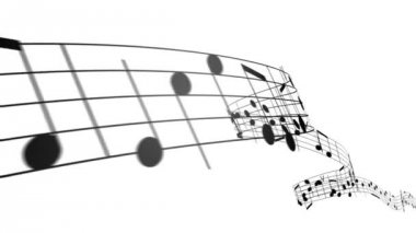 Music notes in 3d. HD. Loopable. — Stock Video