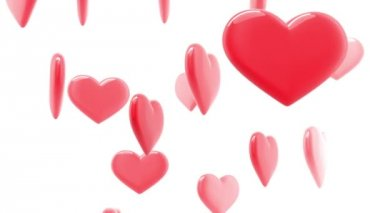 Beautiful glossy Hearts in looped animation. HD 1080. — Stock Video