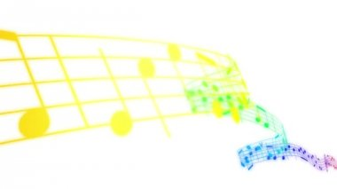 Colored Music notes in 3d. HD. Loopable. — Stock Video