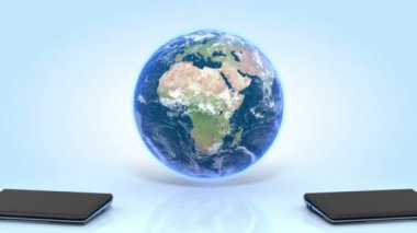 Two Laptops and Earth on reflective floor. Laptops transmitting waves to the Earth. — Stock Video