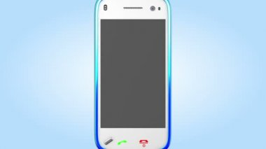 Mavi ekran hareketli kamera açma smartphone. Alfa maskesi dahil ekran ve telefon için. — Stok video
